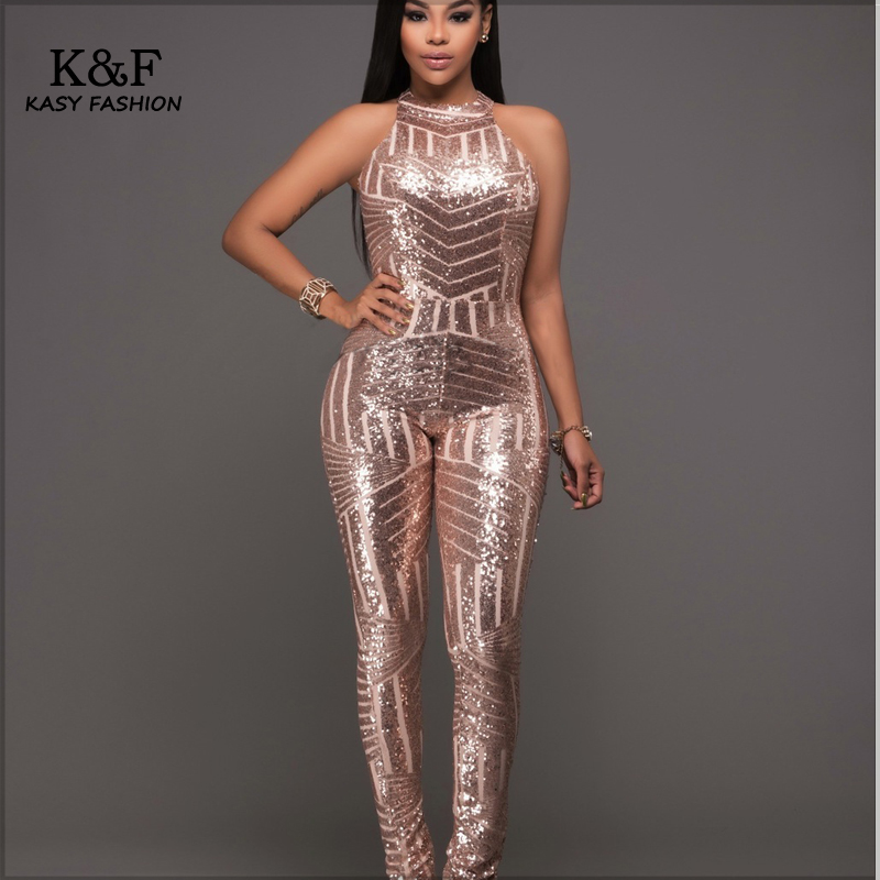 Womens Formal Evening Sequined Jumpsuits Overalls One Piece Designer Jumpsuit Ladies Sexy Club ...