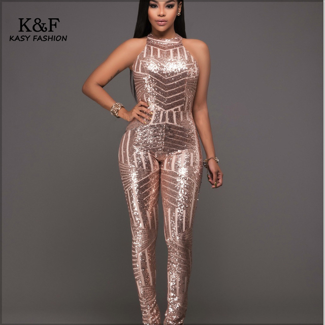 Womens Formal Evening Sequined Jumpsuits Overalls One ...