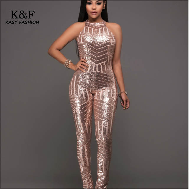 Online Shop Womens Formal Evening Sequined Jumpsuits Overalls One
