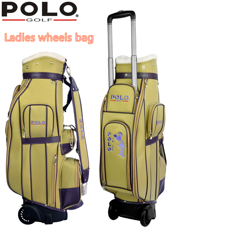 цена на Famous Brand POLO Golf Travel Wheels Standard Stand Caddy Bag Complete Golf Set Bag Nylon golf cart bag staff cart golf bags