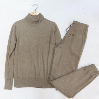2020 Spring Woolen and 45% Cashmere Knitted warm Suit High Collar Velvet Sweater + Mink Cashmere Trousers Leisure Two-piece wj79