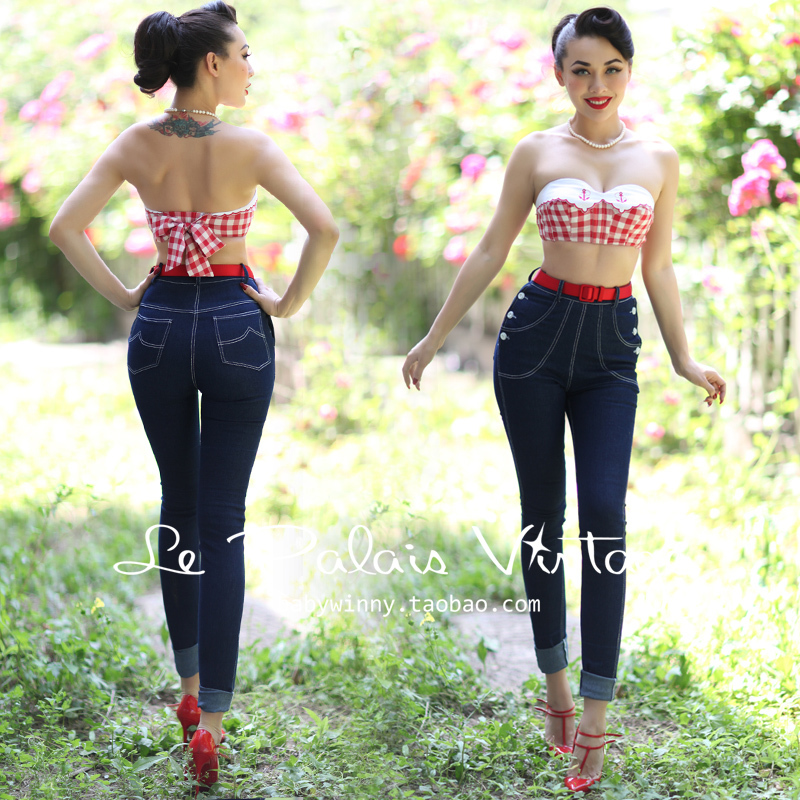 FREE SHIPPING Le Palais vintage retro classic double breasted high waist skinny font b jeans b