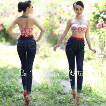 FREE SHIPPING Le Palais vintage retro classic double breasted high waist skinny jeans pencil pants