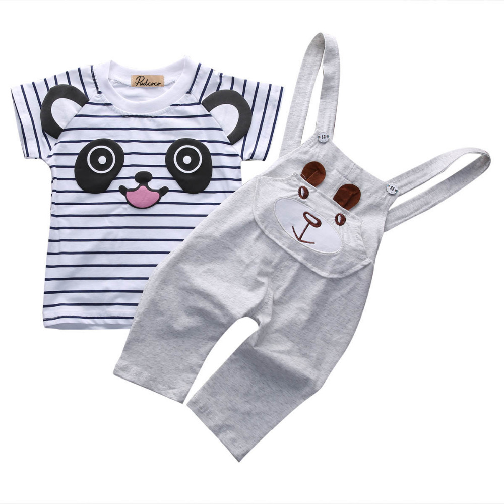 2pcs!!summer Baby Sets Boys Cartoon Panda Short Sleeve T-shirt Tops + Cotton Striped Overalls Pants Trousers Kids Baby Clothing Moderate Price