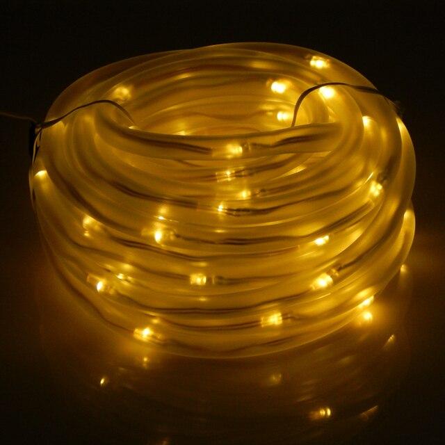 10 M 100 Led Solar Tubo Led Cadena Luces de Hadas de Cuerda de Alta Calidad A Prueba de agua Al Aire Libre Jardín Luces De Navidad Decoración Del Partido