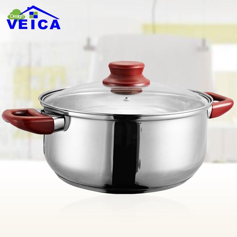 24 cm de qualité sûre en acier inoxydable marmite ustensiles de cuisine ménage conserve Pot four marmite totale antiadhésive Pot à soupe