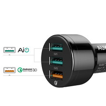 3-Port USB Car Charger with Free Type C Cable