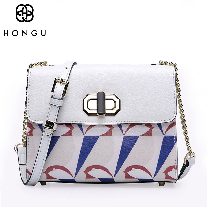 HONGU Luxury Genuine Cow Leather Bags Women Handbag Shoulder Bag Crossbody Female Messenger Chain Top Quality Clutch Bolsos Tote 2017 fashion all match retro split leather women bag top grade small shoulder bags multilayer mini chain women messenger bags