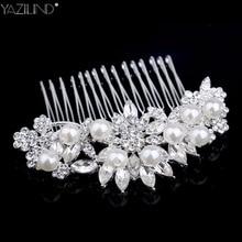 YAZILIND European Design Floral Wedding Hair Accessories Pearl Crystal Flower Bridal Hair Comb Wedding Hair Jewelry