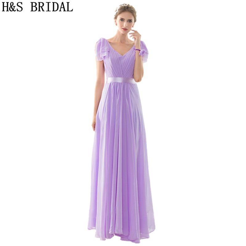 V-Neck Cap Sleeve   bridesmaid     dresses   robe de soiree 2017 Draped Chiffon Prom Wedding Gust   Dresses   Chiffon   bridesmaid     dress   Long