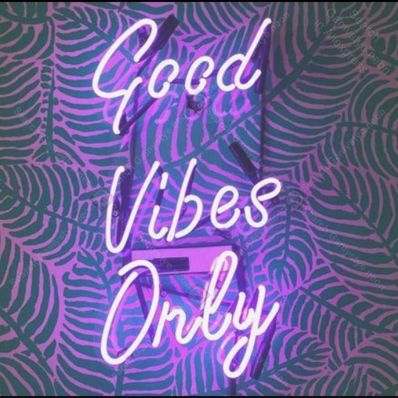 Enseigne au néon pour de bonnes vibrations seulement enseigne au néon artisanat cadeaux hôtel néon enseigne murale lumières anuncio luminos avec panneau transparent