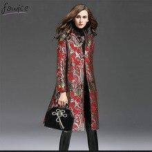 Плюс Размер Осень И Зима Старинные Женщины Длинные Пальто Шанца Мода Полный Рукавом Добби Вышивка Полиэстер Тренч(China (Mainland))