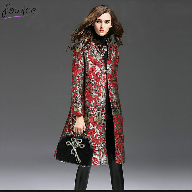 Plus Size Autumn And Winter Vintage Women Long Trench Coat Fashion Full Sleeve Dobby Embroidery Polyester Trench