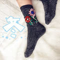 2016 Winter Srockings Candy Color Medias Handmade Rhinestones Flowers Socks Women Christmas Harajuku Socks Women