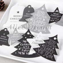 Classic Deep Gray White Design Merry Christmas And Happy New Year Tags For Gift Party Decoration As Label Top Fashion