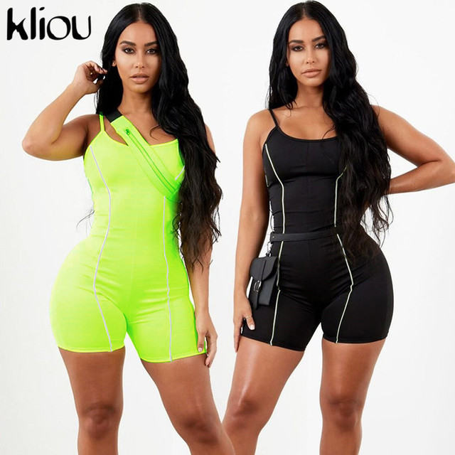 Kliou 2019 women sexy strapless playsuit neon color skinny bodysuit Reflective striped patchwork strap backless fitness