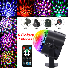 Mini Led Stage Lights Disco Ball Light  Sound Activated Party 6 Colors Remote Control Home Entertainment D30