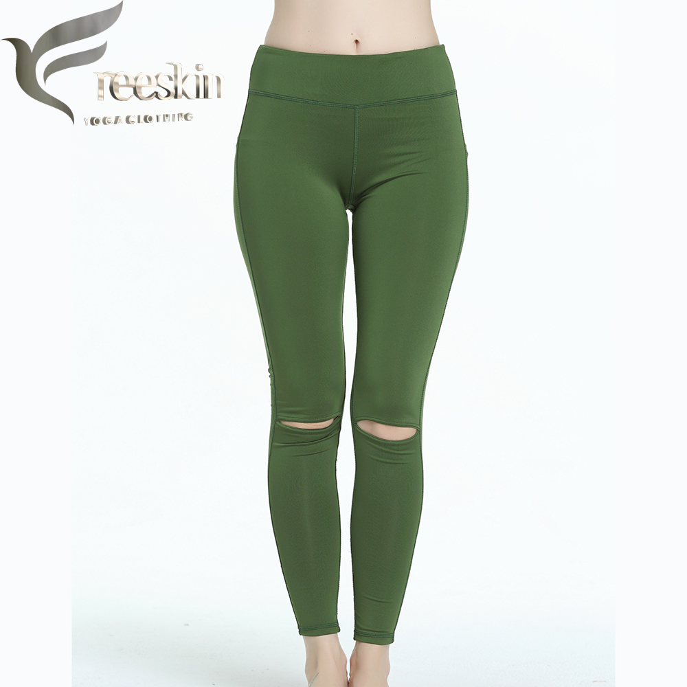 Free Skin Army Green Yoga Pants Lady Broken Hole Sport Tights Sport Pants Women Compression Pants Running Fitness Jogging Pants