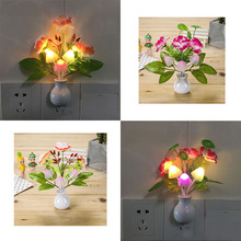 US Romantic LED Night Light Sensor Plug in Wall Lamp Home Illumination Mushroom Fungus colorful Light