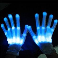 10pcs/lot Colorful LED Gloves Rave Light Finger Lighting Flashing Gloves Skeleton Gloves Holloween Christmas Gift Party Supplies halloween colorful finger glow led gloves