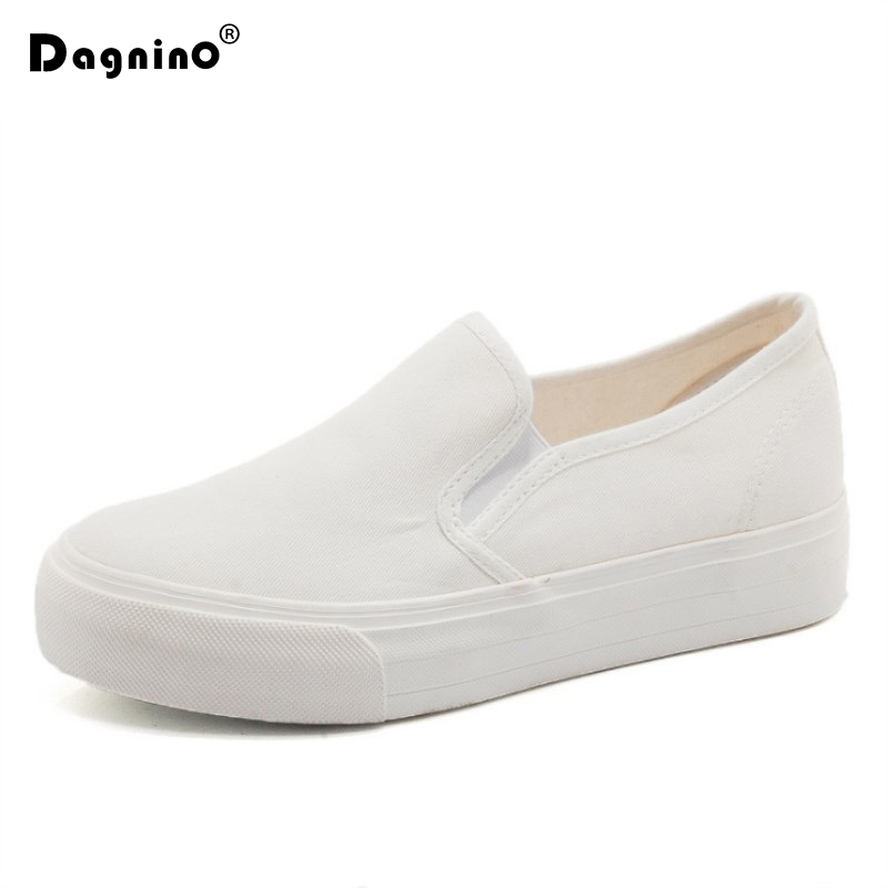 2018 Spring Women Casual Canvas Shoes White Black Color Sneakers Breathable Platform Gum Slip On Footwear Flat Work Shoes Woman de la chance women vulcanize shoes platform breathable canvas shoes woman wedge sneakers casual fashion candy color students