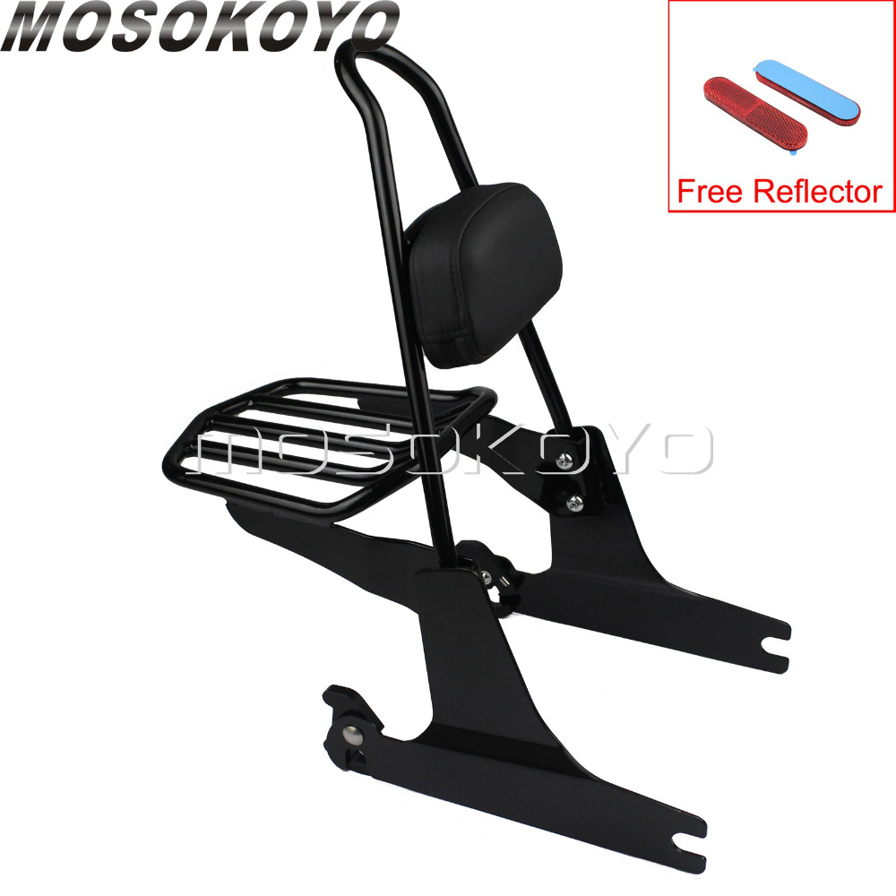 Motorcycle Black Sissy Bar Backrest Luggage Rack for Harley Softail Fatboy FLST FXST 2000 2005 With