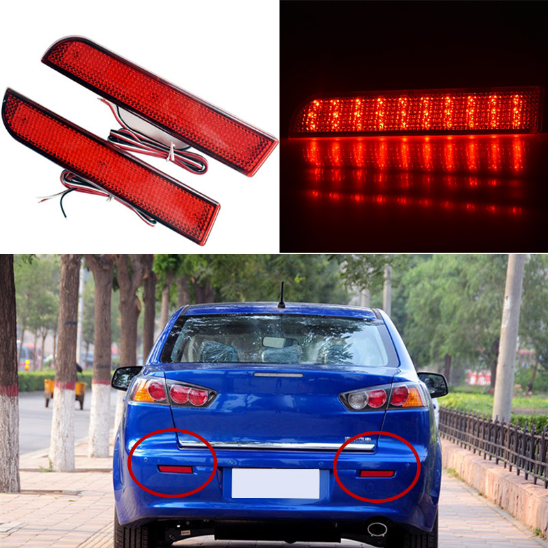 Car-styling For 2008 2009 2010 2011 2013 2014 Mitsubishi Lancer Red Lens LED Rear Bumper Reflector Brake Light Lamp Fog light car modification lamp fog lamps safety light h11 12v 55w suitable for mitsubishi triton l200 2009 2010 2011 2012 on