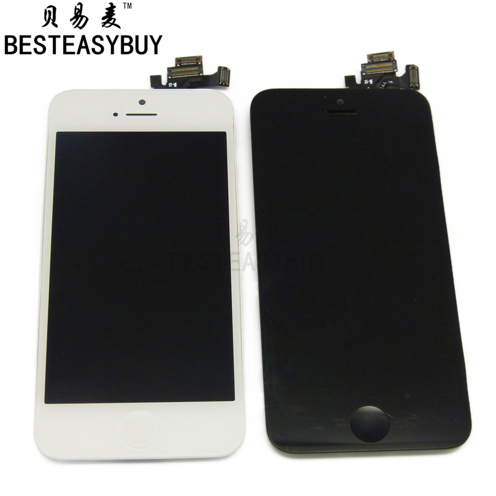 BESTEASYBUY 10PCS Replacement for iPhone 5 5G LCD Touch Screen + LCD Display Digitizer + Frame Full Set Assembly free shipping