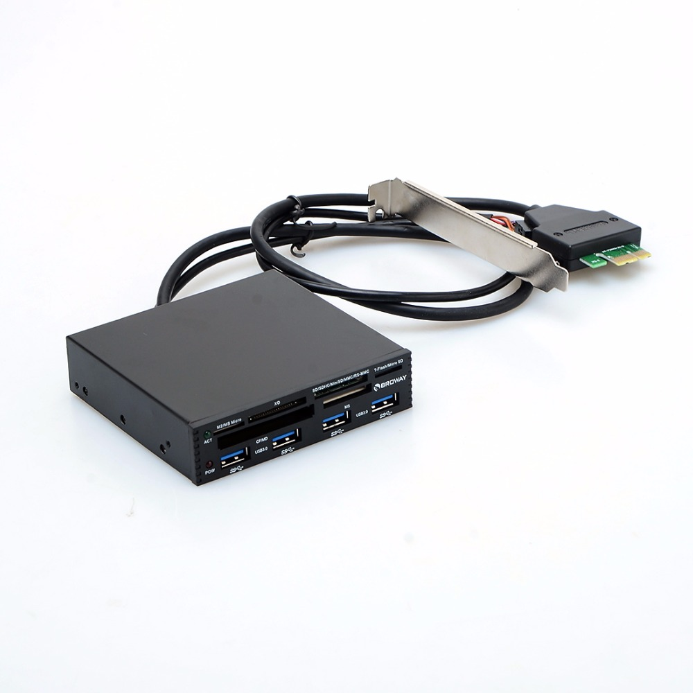 Lecteur de carte USB 3.5 en interne PCI-E PCI Express lecteur de carte HUB SD SDHC MMS XD M2 CF lecteurs et adaptateurs de carte mémoire P15