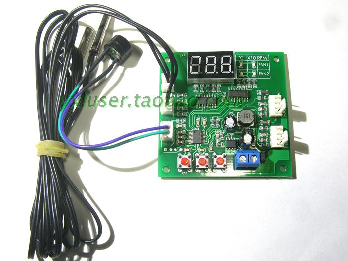 Digital Display Two Way PWM Four Wire Fan Temperature Control Governor 12V24V48V цена
