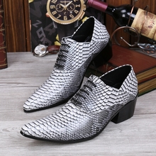 sapato social masculino spring summer high heels snake skin print oxford shoes for men lace up pointed toe office business shoes недорого