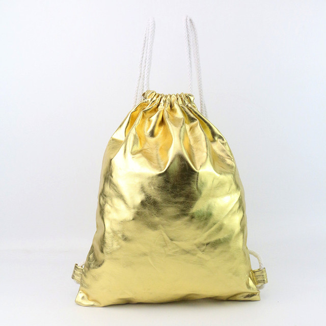 daa3c7e334 Women s Fashion Drawstring Bag Solid Gold Tote Leisure Ladies Shoulder Bags  String Backpack Teenager Girls Schoolbag
