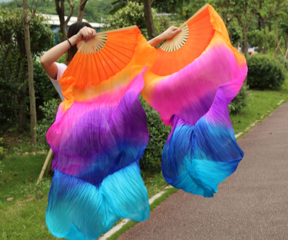 Hits 2016 High Selling Women Quality Silk Belly Dance Fan Dance 100% Real Silk Veils5colorful Veil One-pair 180*90 Cm