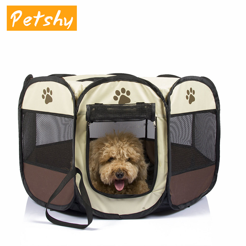 Petshy Portable Foldable Pet tent House Dog Cat Puppy Outdoor Home Waterproof Breathable Octagonal Tent Playpen Kennel Cage in Houses Kennels Pens from Home Garden