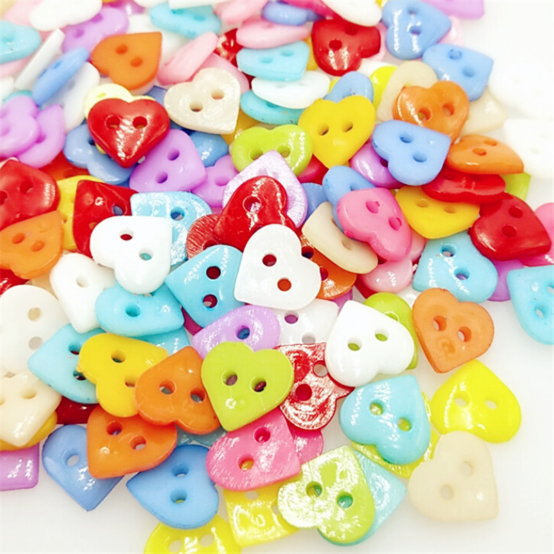 50pcs/lot 2 Holes Heart Shape Colorful <font><b>Button</b></font> <font><b>12</b></font> <font><b>mm</b></font> Plastic <font><b>Buttons</b></font> For Sewing Garment Supplies Accessory image