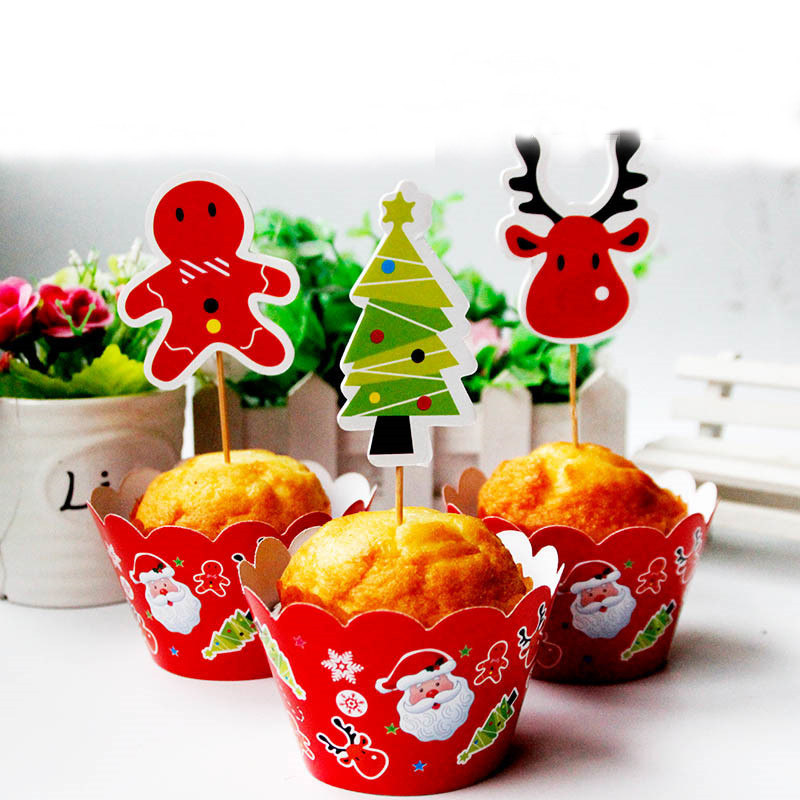 Us 2 38 Merry Christmas Tree Kids Favors Cake Toppers Baby Shower Birthday Party Decoration Paper Cupcake Wrappers Supplies 24pcs Lot In Cake