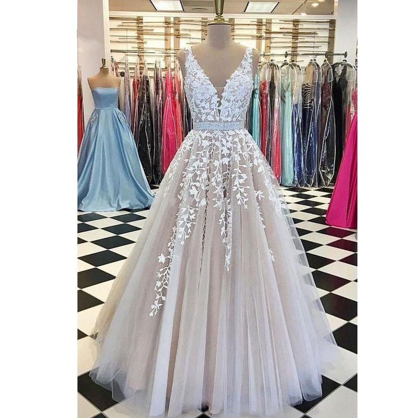 Elegant Robe De Soiree 2019 A-line V-neck Tulle Appliques Lace Beaded Plus Size Long   Prom     Dresses     Prom   Gown Evening   Dresses