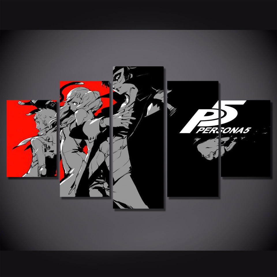 5 Pieces Pop Art Persona Five Oil Poster And Prints Home Decor Wall Art Picture HD Print Canvas Painting Abstract Anime Painting