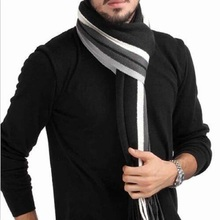 10 Colors Men's Warm Spell Color Stripe Wrap Knitted Business Fringed Scarves Echarpe with tassels