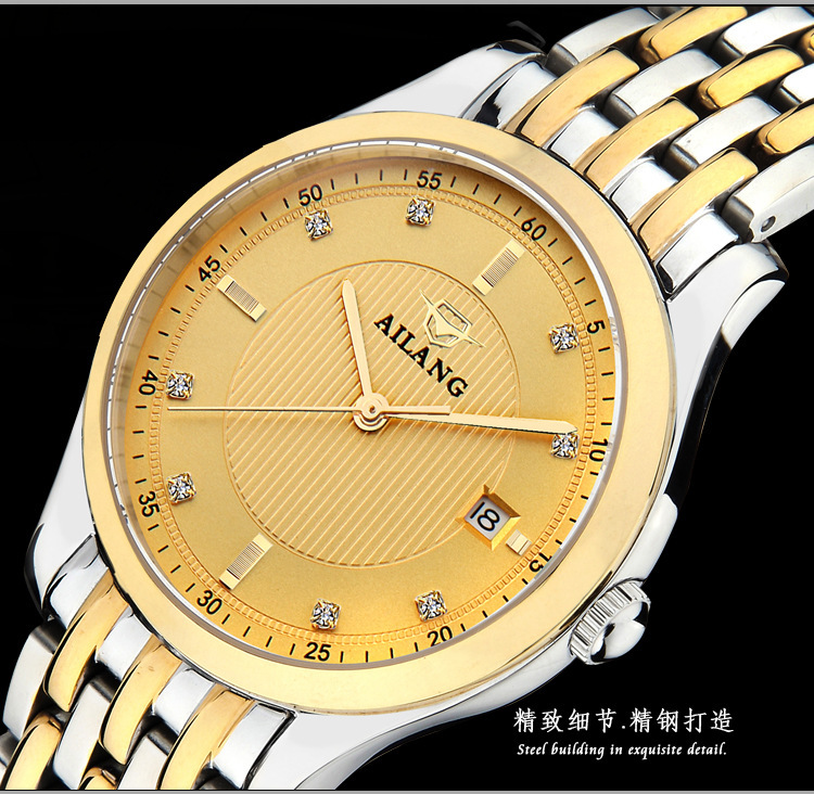 Elegant AILANG Business Designer Men Golden Dress Watch Luxury Crystals 316L Steel Wristwatch Calendar Clock Relojes 3ATM NW3296 luxury men brand crystals dress watches self winding mechanical 316l band calendar wristwatch saphir relojes analog 3atm nw4239