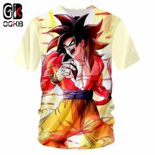 OGKB Anime Tshirt New Arrival Men's O Neck Tshirt Summer Tops Funny Print Super Saiyan 4 3D T-shirts Man Hiphop Punk Tee Shirt(China)