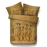 3D Animal bedding set Meerkat duvet cover bedspreads bed sheet linen Super king size queen twin double doona quilt bedsheet 4pcs