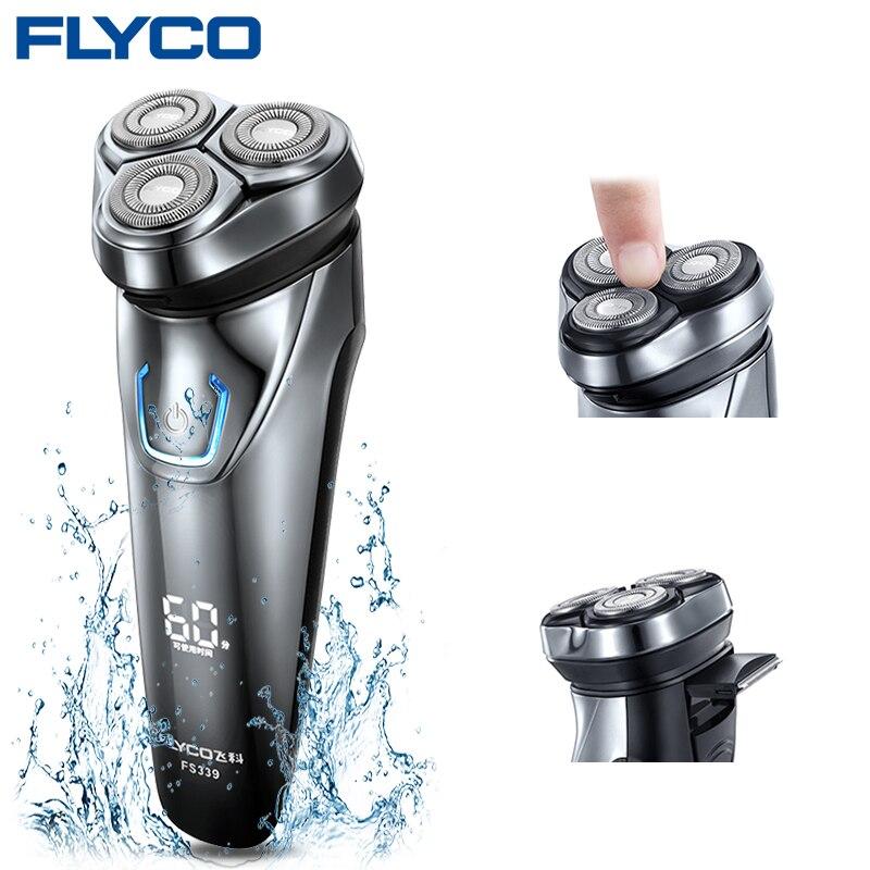 Flyco FS339 rasoir électrique pour hommes rasoir électrique Barbeador IPX7 étanche 1 heure Rechargeable lavable rotatif