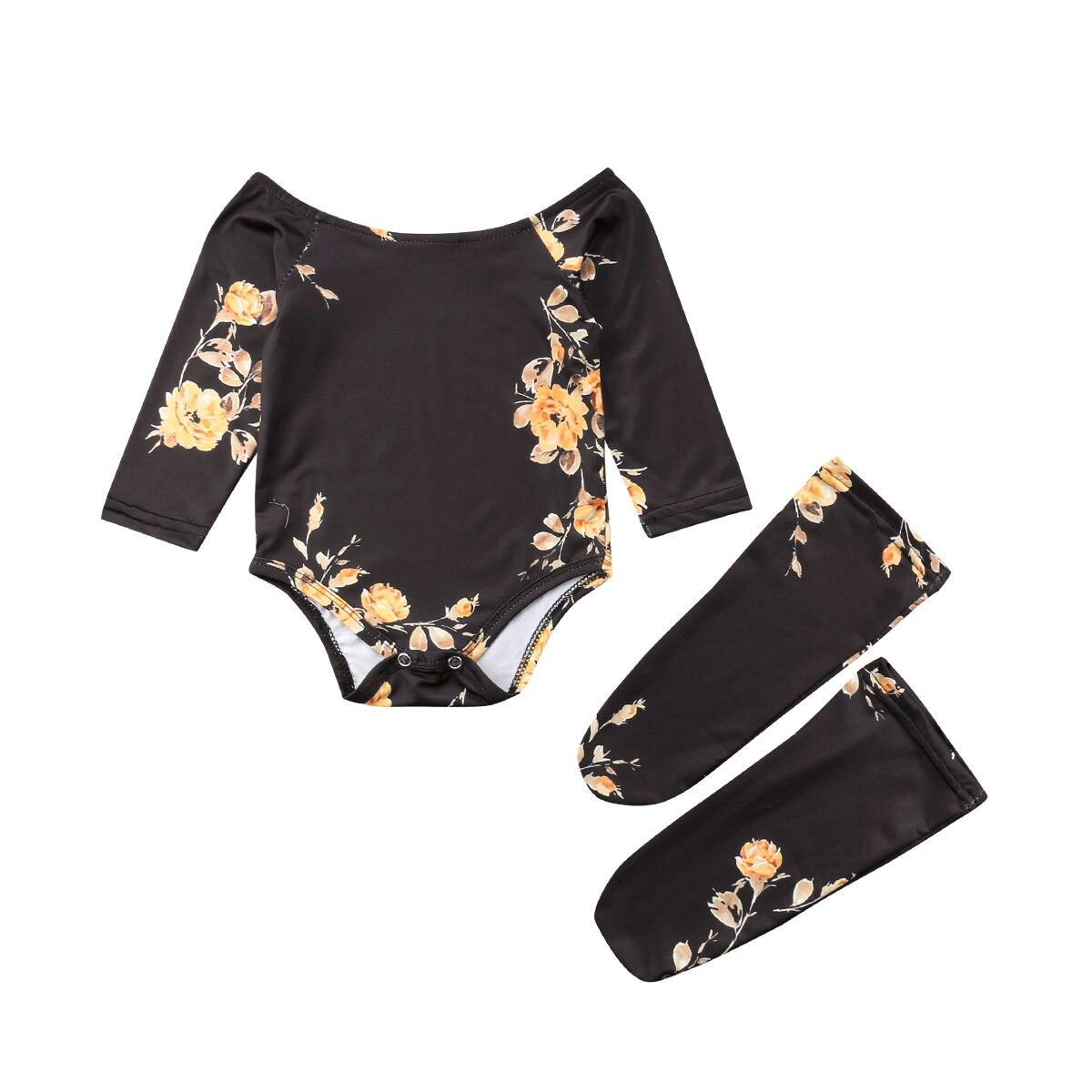 Eerlijkheid 2018 Baby Meisje Zuigeling Off Shoulder Bloem Goud Zwarte Bloem Bodysuit Jumpsuit + Beenwarmers Outfits Herfst Kleding Crazy Prijs