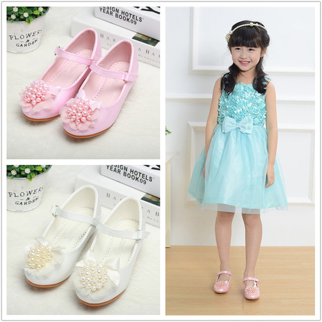 2018 Toddler Girls Pearl Flower Pumps Little Kid Low Heel Mary Jane Flats Big Children Pageant Communion Princess Dress Shoes