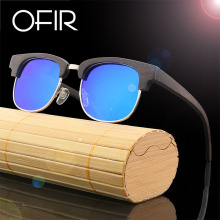 OFIR NEW Fashion Retro Sunglasses Men Retro Round Elegant Bamboo Sun Glasses Brand Design Semi-matte Sun Oculos De Sol ZB612