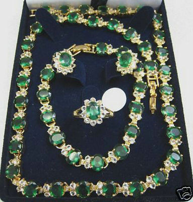 14K GP Emerald Necklace Bracelet Earring Ring >>18K gold plated watch wholesale Quartz stone CZ crystal