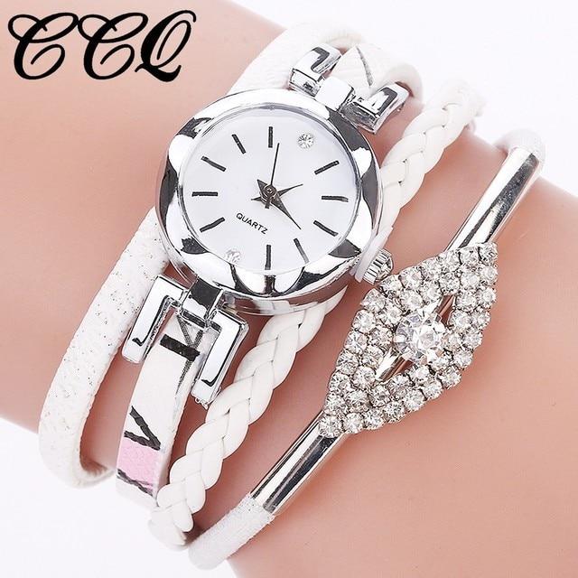 CCQ Brand Women Eye Gemstone Watch Luxury Women Bracelet Watch Female Leather Qu