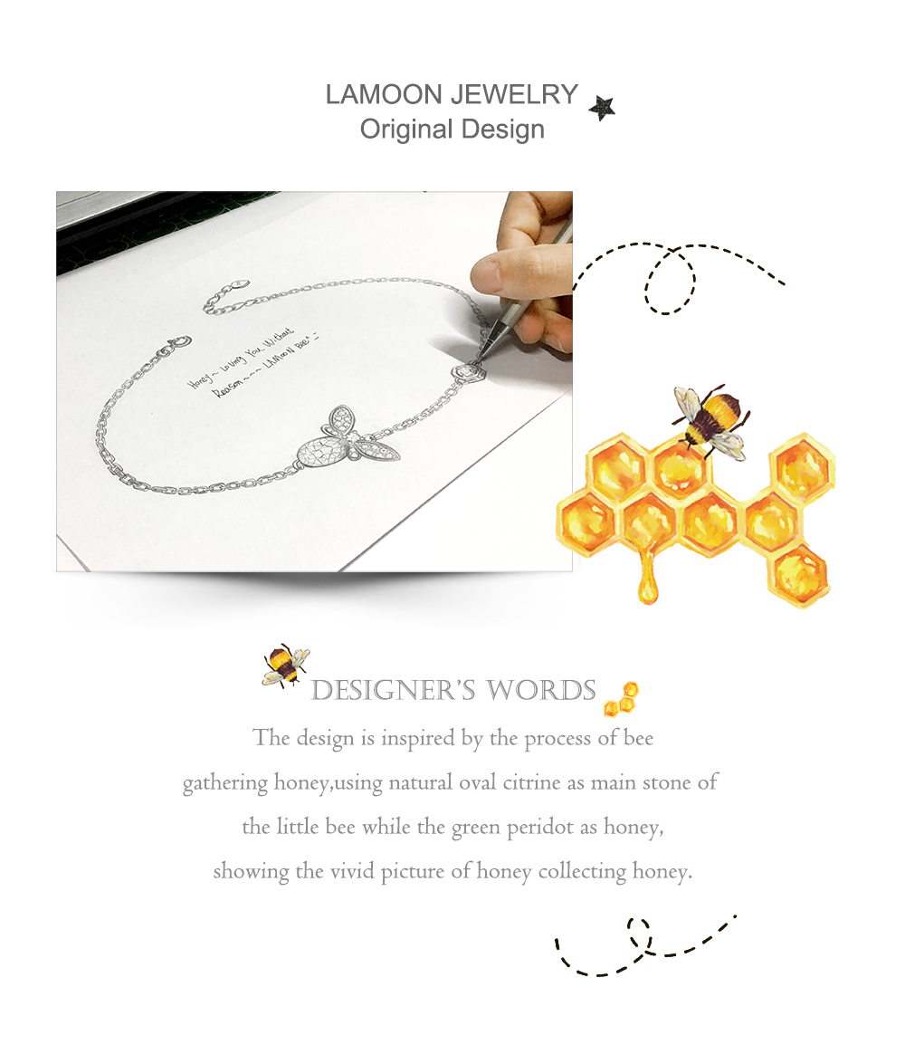 HTB1OpsOXovrK1RjSspcq6zzSXXaa LAMOON Cute Bee 925 Sterling Silver Bracelet Woman love Citrine Gemstones Jewelry 14K Gold Plated Designer Jewellery LMHI002