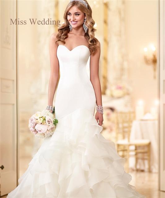 Tiered Skirt Wedding Dress Strapless Sweetheart Neckline Layered Organza Mermaid Customized Size Bridal